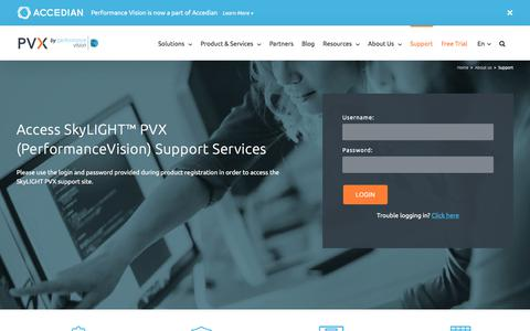 Screenshot of Support Page performancevision.com - Accedian Provides a Complete Range of SkyLIGHT PVX Support Services - captured July 6, 2018