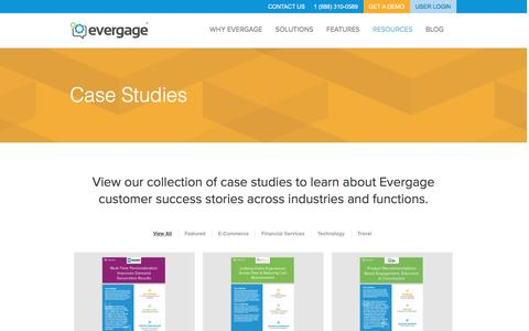 Screenshot of Case Studies Page evergage.com - Evergage | CASE STUDIES - captured Aug. 2, 2016