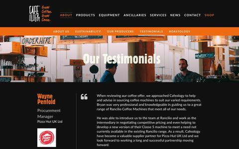 Screenshot of Testimonials Page cafeology.com - Testimonials Archive - Cafeology - captured Sept. 26, 2018