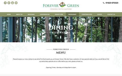 Screenshot of Menu Page forever-green.info - Menu - Forever Green, Mansfield, Nottinghamshire - captured Nov. 25, 2016