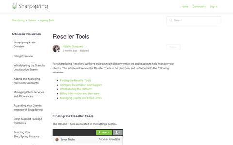 Screenshot of Support Page sharpspring.com - Reseller Tools – SharpSpring - captured Dec. 29, 2017