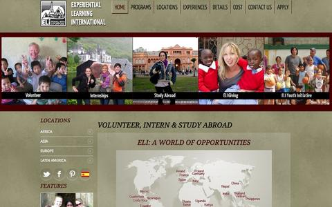 Screenshot of Home Page eliabroad.org - Volunteer and internship work abroad: International humanitarian, environmental and professional programs with ELI - captured Sept. 19, 2014