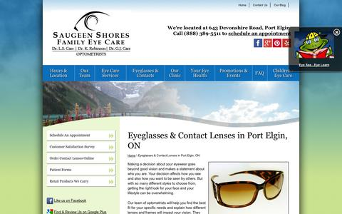 Screenshot of Products Page ssfeyecare.com - Eyeglasses & Contacts in Port Elgin and Saugeen Shores ON - captured Oct. 4, 2014