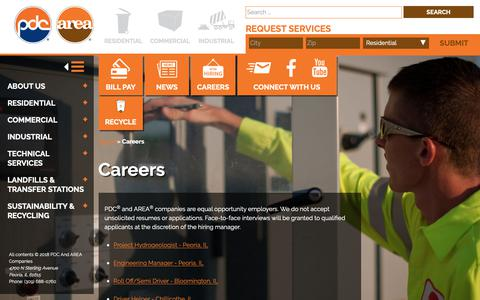 Screenshot of Jobs Page pdcarea.com - Careers - PDC and AREA Companies - captured Sept. 29, 2018