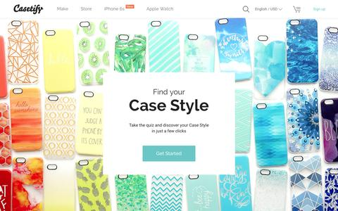 Screenshot of Home Page casetify.com - Casetify - Custom Cases | iPhone6S | iPhone6S Plus | iPhone6 | iPhone6 Plus | Apple Watch | iPhone 5S | iPhone 5C | iPhone 4S | iPad | iPod Touch | Samsung Galaxy | formerly Casetagram - captured Oct. 1, 2015