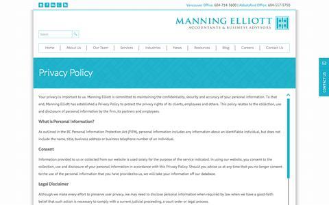 Screenshot of Privacy Page manningelliott.com - Privacy Policy | Manning Elliott LLP - captured Oct. 4, 2014