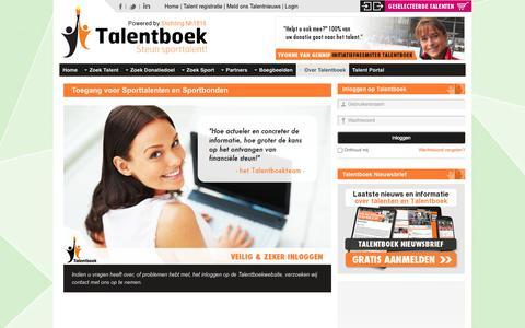 Screenshot of Login Page talentboek.nl - Talentboek - Toegang voor Sporttalenten en Sportbonden - captured Oct. 9, 2014
