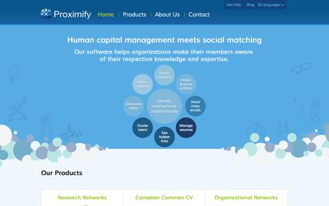 Screenshot of Home Page proximify.ca - Proximify - captured Oct. 3, 2014