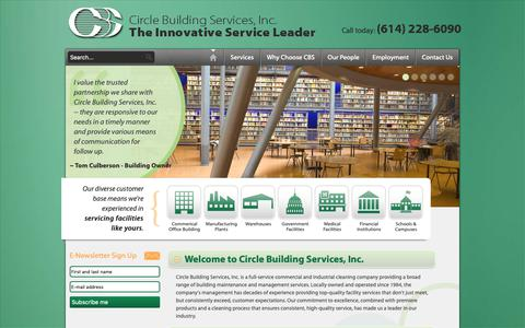 Screenshot of Home Page circlebuildingservices.com - Welcome to Circle Building Services, Inc. The Innovative Service Leader - Circle Building Services, Inc - captured Sept. 28, 2018