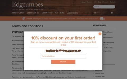 Screenshot of Terms Page edgcumbes.co.uk - Terms & Conditions - Edgcumbes - Coffee Roasters & Tea Blenders - captured Oct. 25, 2016