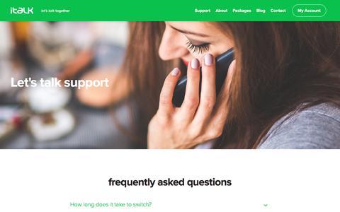 Screenshot of Support Page italktelecom.co.uk - Support - italk Telecom - captured Nov. 26, 2016