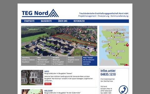 Screenshot of Home Page teg-nord.de - Baugrundstücke in Schleswig-Holstein . TEG Nord - captured June 8, 2016
