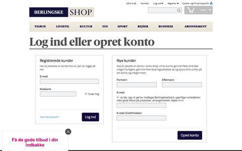 Screenshot of Login Page b.dk - Log-ind | shop.b.dk - captured Nov. 21, 2016