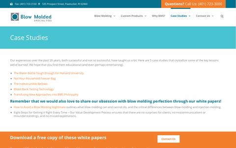 Screenshot of Case Studies Page bmsplastics.com - Case Studies | BMS Plastics - captured Nov. 22, 2016