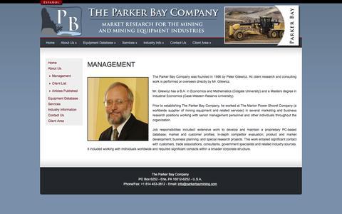 Screenshot of Team Page parkerbaymining.com - PBCo | Management | Mining Equipment Database & Mining Market Research - captured Dec. 22, 2016