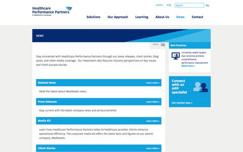 Screenshot of Press Page hpp.bz - Newsroom | Healthcare Performance Partners - captured Jan. 22, 2016