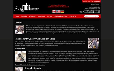 Screenshot of About Page mbicanada.com - About Us  |  MBI Canada - captured Sept. 30, 2014