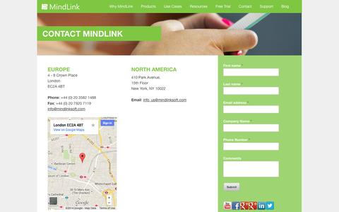 Screenshot of Contact Page mindlinksoft.com - Contact - Find out about MindLink collaboration solutions - captured Oct. 6, 2014