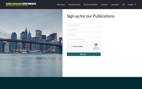 Screenshot of Signup Page quinnemanuel.com - Sign Up |  Quinn Emanuel Urquhart & Sullivan, LLP - captured Dec. 19, 2018