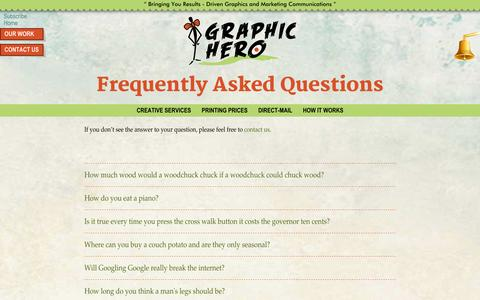 Screenshot of FAQ Page graphichero.com - FAQ - Graphic Hero - captured Sept. 19, 2014