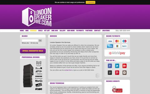 Screenshot of Services Page londonspeakerhire.com - London Speaker Hire & PA Hire London - Services - captured July 17, 2016