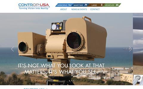 Screenshot of Home Page contropusa.com - Electro Optics | Infrared | SWIR - captured July 15, 2019