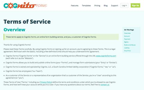 Terms of Service | Cognito Forms - Free Online Form Builder