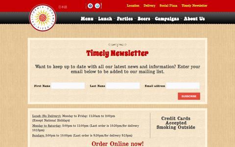 Screenshot of Signup Page pizzakaya.com - Pizzakaya | Timely newsletter - captured July 14, 2016