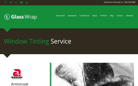 Screenshot of Home Page glasswrap.com - Window Tinting Service - captured Nov. 29, 2018