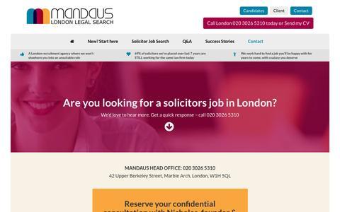 Screenshot of Contact Page mandaus.com - Contact - Mandaus - London Legal Search - captured July 22, 2016