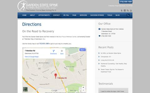 Screenshot of Maps & Directions Page gardenstatespine.com - Neck, Low Back & Foot Pain? Stop By Our Eatontown, NJ Office Today - captured Oct. 2, 2014