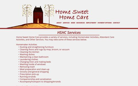 Screenshot of Services Page hshcin.com - HSHC Services - captured Sept. 29, 2018