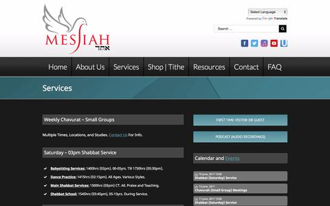 Screenshot of Services Page messiahechad.org - Messiah Echad   Order of Service, Messianic Haggadah, Shabbat, Reviews   Messiah Echad - captured June 10, 2017