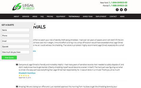 Screenshot of Testimonials Page legalshred.com - Testimonials - Legal Shred - captured June 17, 2017