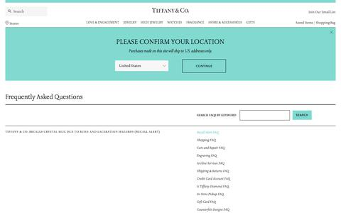 Screenshot of FAQ Page tiffany.com - Tiffany & Co. | Frequently Asked Questions | Recall Alert FAQFrequently Asked Questions | - captured May 16, 2018