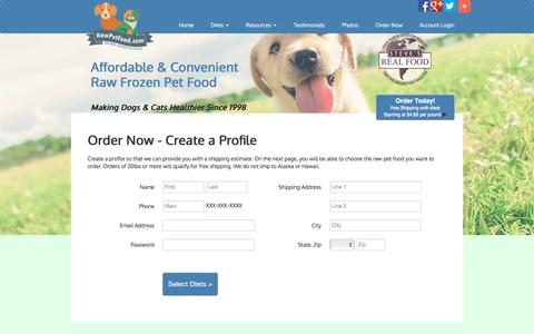 Screenshot of Signup Page rawpetfood.com - Signup for All Natural Raw Dog Food Direct To Your Door - captured July 8, 2018