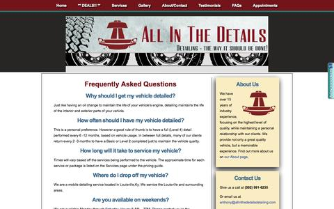 Screenshot of FAQ Page allinthedetailsdetailing.com - FAQs | All In The Details Detailing - captured Oct. 4, 2014