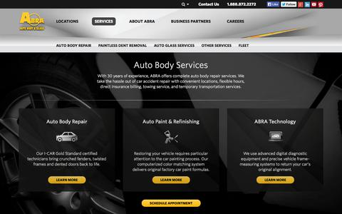 Screenshot of Services Page abraauto.com - Auto Body, Auto Glass, Windshield, Paintless Dent Repair Services - captured Sept. 23, 2014
