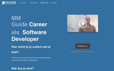 Screenshot of Developers Page mmguide.nl - Werken bij MM Guide als Developer | MM Guide - captured Oct. 1, 2018