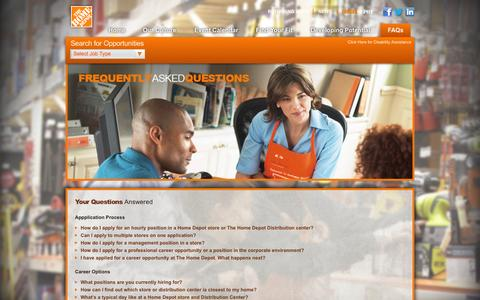 Screenshot of FAQ Page homedepot.com - Home Depot Careers - captured Sept. 19, 2014