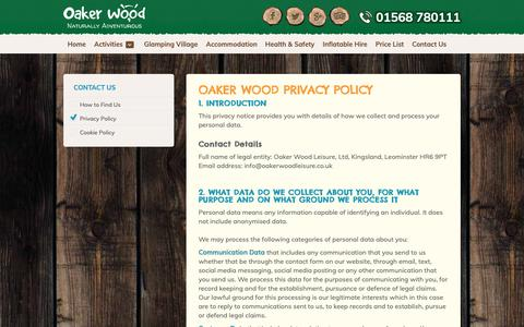 Screenshot of Privacy Page oakerwoodleisure.co.uk - Oaker Wood Leisure Privacy Policy | Oaker Wood Leisure - captured Oct. 19, 2018