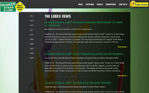 Screenshot of Press Page thelube.com - The Lube® News | Quaker Steak & Lube® - captured Sept. 19, 2014