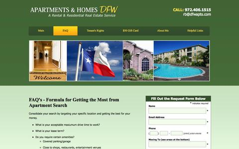 Screenshot of FAQ Page apartmentsdfw.com - FAQ | Apartments & Homes DFW - captured Oct. 4, 2014