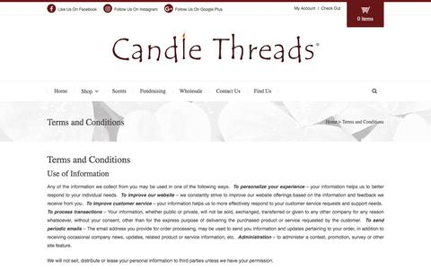 Screenshot of Terms Page candlethreads.com - Terms and Conditions | Candle Threads® - captured July 11, 2016