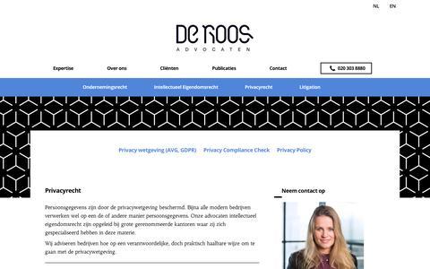 Screenshot of Privacy Page deroosadvocaten.nl - Advocaat privacyrecht - De Roos Advocaten - captured Aug. 6, 2018