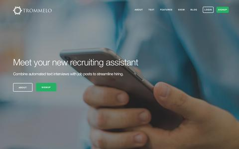 Screenshot of Home Page trommelo.com - Modern Recruiting Application - Meet your new Recruiting | Trommelo - captured Dec. 20, 2016
