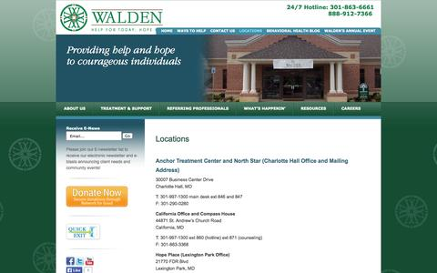 Screenshot of Locations Page waldensierra.org - Walden Sierra Locations St Marys Charles County Southern Maryland | Walden Behavioral Health - captured Oct. 27, 2014
