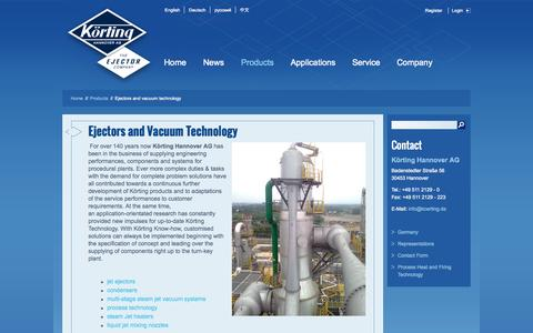 Screenshot of Products Page koerting.de - Ejectors and vacuum technology - captured Oct. 6, 2014