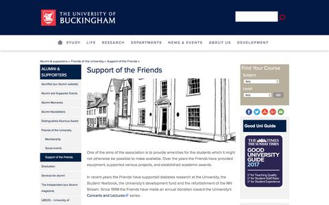 Screenshot of Support Page buckingham.ac.uk - Support of the Friends | University of Buckingham - captured June 22, 2017