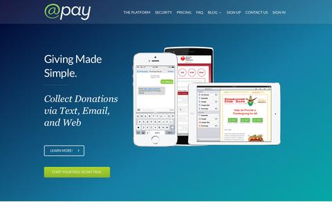 Screenshot of Home Page atpay.com - @Pay: Mobile and Online Fundraising - captured Feb. 21, 2016